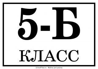 """Табличка """"5-Б класс"""""""